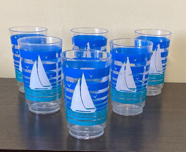 6 Refreshingly Lipton Iced Tea Plastic Tumblers  Sailboats UPC Giveaway 1990's