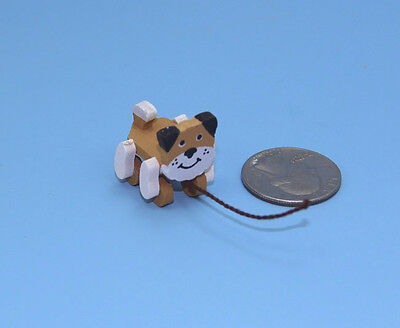 Adorable 1:12 Scale Dollhouse Miniature Wooden Dog Children's Pull Toy #IM65027