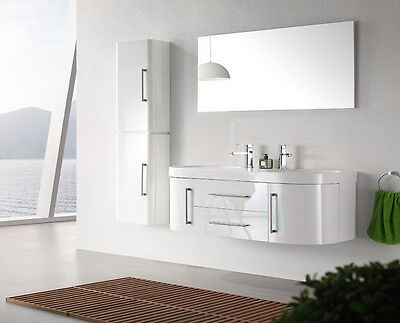 Meuble salle de bain double vasque laqué blanc avec 1 colonne 120cm MIA BLANC