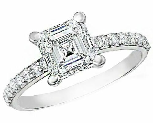 GIA Certified Asscher Cut Diamond Engagement Pave Ladies Ring 1.90 carat tota...