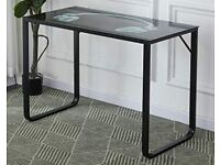 Computer desk - steel frame and glass top
