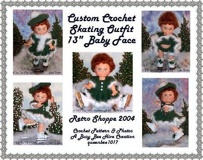 """Original Crochet Pattern fits Baby Face 13"""" Four Piece Doll Skating Set"""