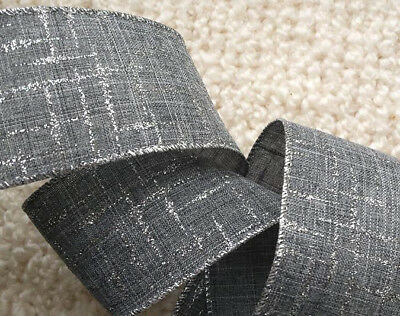 1m  63mm WIRED CHRISTMAS RIBBON GREY & SILVER GLITTER SPARKLE  TREE BOW GIFT