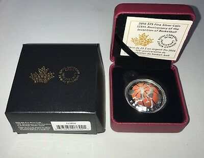 Invention Of Basketball 125th Anniversary $25 Fine Silver RCM Coin Mint Canada