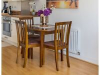 Argos Banbury solid wood extending dining table & 4 chairs L106xW80xH65 (extended 135cm)