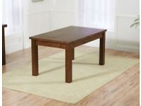 Solid oak dining table with 2 benches