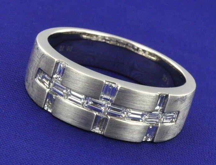 1.00 Ct 14k Solid White Gold Mens Natural Diamond Ring 6.5 Gram Baguette Unique