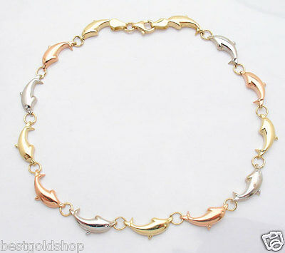 Cute Playing Dolphin Link Anklet Ankle Bracelet Real 10K Yellow Rose White Gold