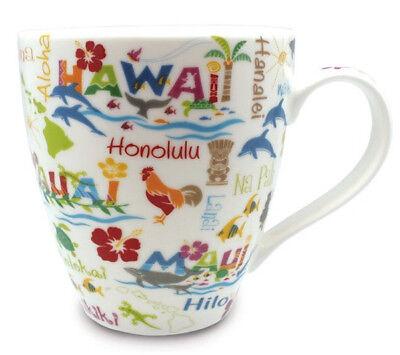 Hawaiian Coffee Mug Hawaii Adventures Porcelain Dishwasher Safe Islands Icons NB
