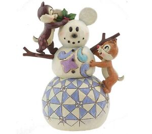Jim shore Disney Tradition Chip and Dale Mickey snowman