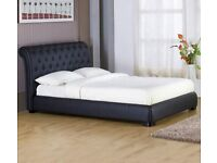 Atlanta Buttoned Sleigh Bed King 5ft Black High Quality Faux Leather