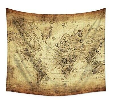 Uphome Antique Map Tapestry Wall Hanging Light-Weight Polyester Fabric Wall Deco