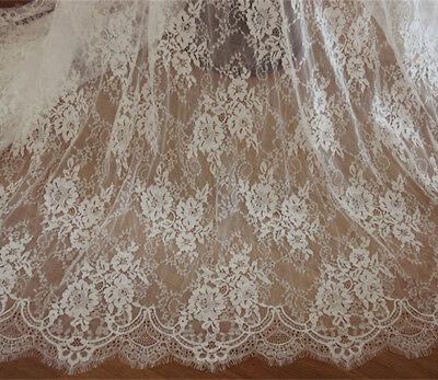 Blanco Crudo Chantilly Encaje Novia Tela Disfraz Vestido Boda Velos 300cm Largo