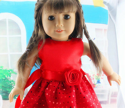 new fashion red clothes dress for 18inch American girl doll party b45 on Rummage