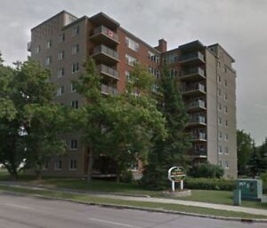 2 BR w balcony, underground parking in St. James, avail. Sept 25