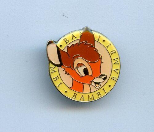 Japan Disney Bambi Head & Name Yellow Circle Mini Pin RARE