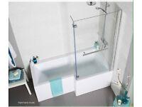Kvitt L shape shower bath with screen. Brand new