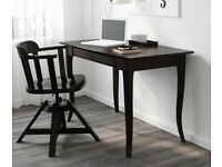 Solid wood dark brown/nearly black desk with large drawer. 120x60cms
