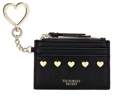 Victoria's Secret Black With Hearts Keychain Bag Coin Credit Card Holder  New. Heart Card Holder