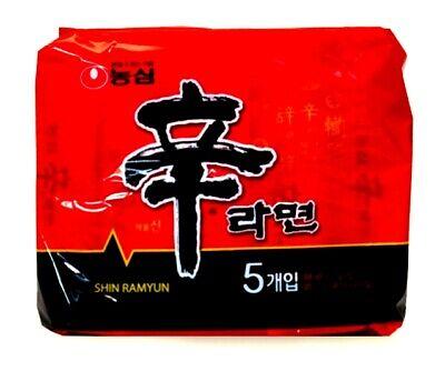 Nongshim Shin Ramyun Korean Noodle Spicy Tasty Beef Soup Korea Ramen (Pack of 5)