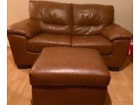 DFS tan leather sofa and footstool