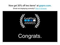 30% off 2 items on gopro store code