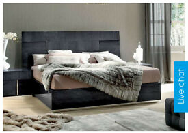 Kingside Bed two bedside tables memory foam mattress, long chest draws tall draws