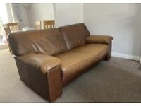 3, 3 and 2 seat leather brown sofa