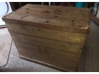 Chunky solid pine antique chest, rustic, heavy duty trunk, table, desk, hardwood,