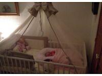 Cot canopy drapes bumper bedding set