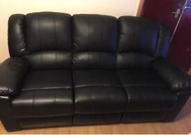 Black Leather Sofa x3