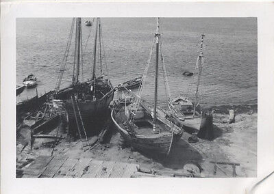 VINTAGE PHOTOGRAPH OF BEAUTIFUL WOODEN FISHING BOATS