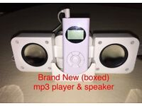 BRAND NEW 1 GB MP3 player with desktop speaker stand works with iPhone