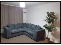 Sofa grey jumbo cord corner or or 3+2 available for delivery