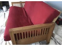 Lovely Futon Company 3 seater Solid Oak sofa bed, great condition