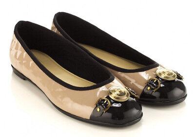 Hunter Aubrey Size 5 Ballet Flats Shoes Quilted Beige Rubber Brass Toe $149 EUC!