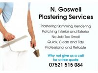 Local plasterer available - get in touch for a free quotation - 07521 515 084