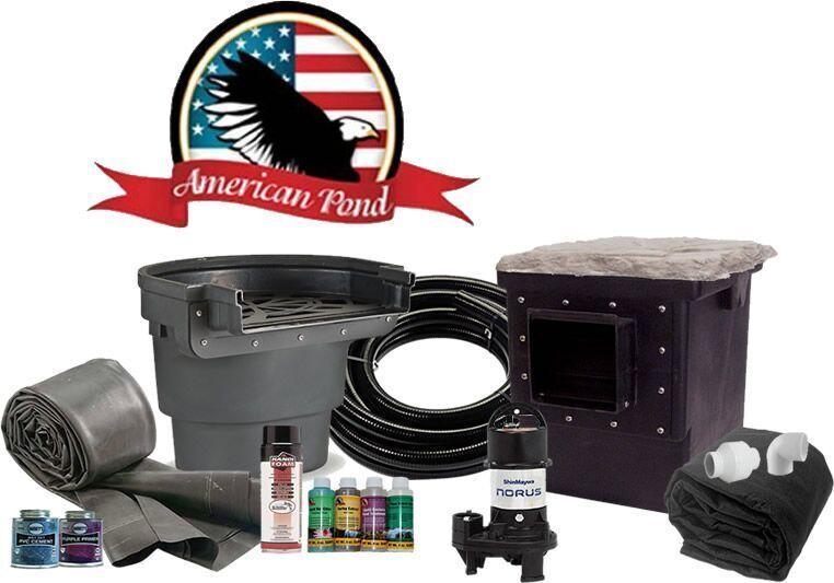 American Pond Medium Pro Series Complete Pond Kit w/ Waterfall - 11
