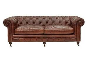 """Hampton Court"" 3 Seater Chesterfield Genuine Aged Leather Lounge"