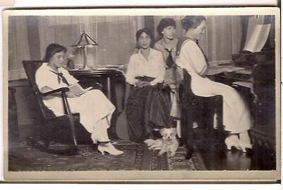 Dog & Edwardian Fashion Women In Parlor Reading Book Playing Piano 1910s Photo