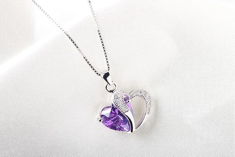 $5.50 - Fashion Women Heart Crystal Rhinestone Silver Chain Pendant Necklace Charm Gift