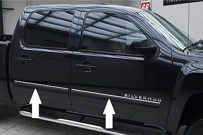 CHROME SIDE DOOR TRIM ROCKER PANEL MOLDING PACKAGE For CHEVY SILVERADO 07-13