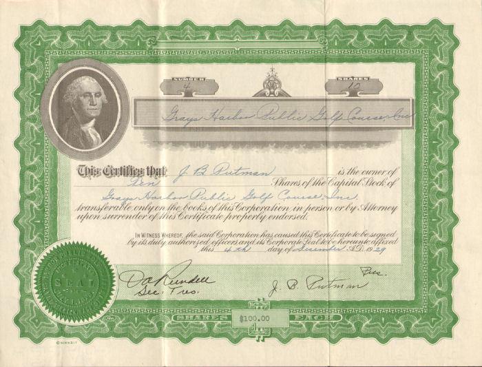 Grays Harbor Public Golf Course > Washington stock certificate share