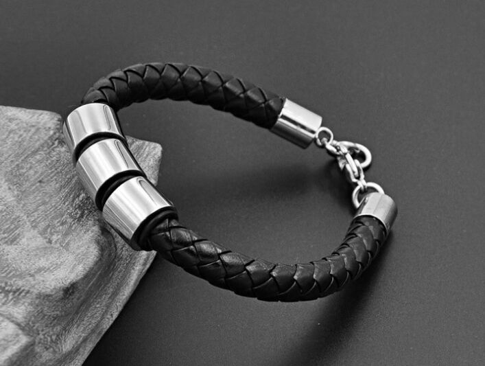 9 inch Mens Genuine Leather 316L Stainless Steel Bracelet Br