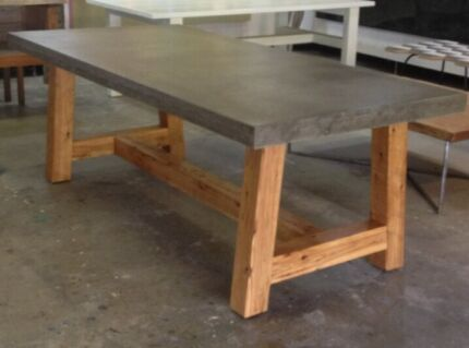 Indoor outdoor lightweight concrete dining table the for Outdoor furniture noosa