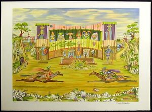 Guillermo-Silva-Duelo-Medieval-Hand-Signed-Art-Lithograph-jousting-MAKE-OFFER