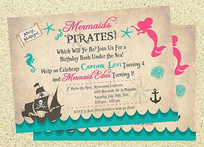 Mermaid & Pirate Invitations, Mermaid & Pirate Birthday Invitations, DIGITAL