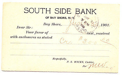South Side Bank Of Bay Shore  Business Postcard  Bay Shore L I  Ny 1902