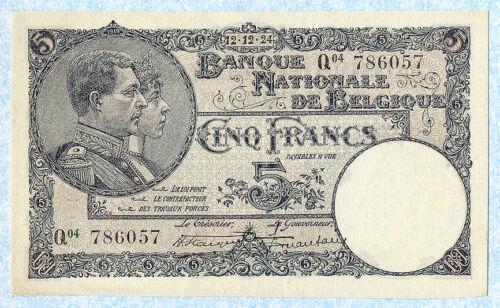 BELGIUM 5 Francs 1924 P93 AU
