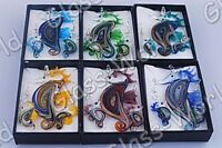 Sea-Horse Glass Pendant Necklaces+Earrings--NEW!!